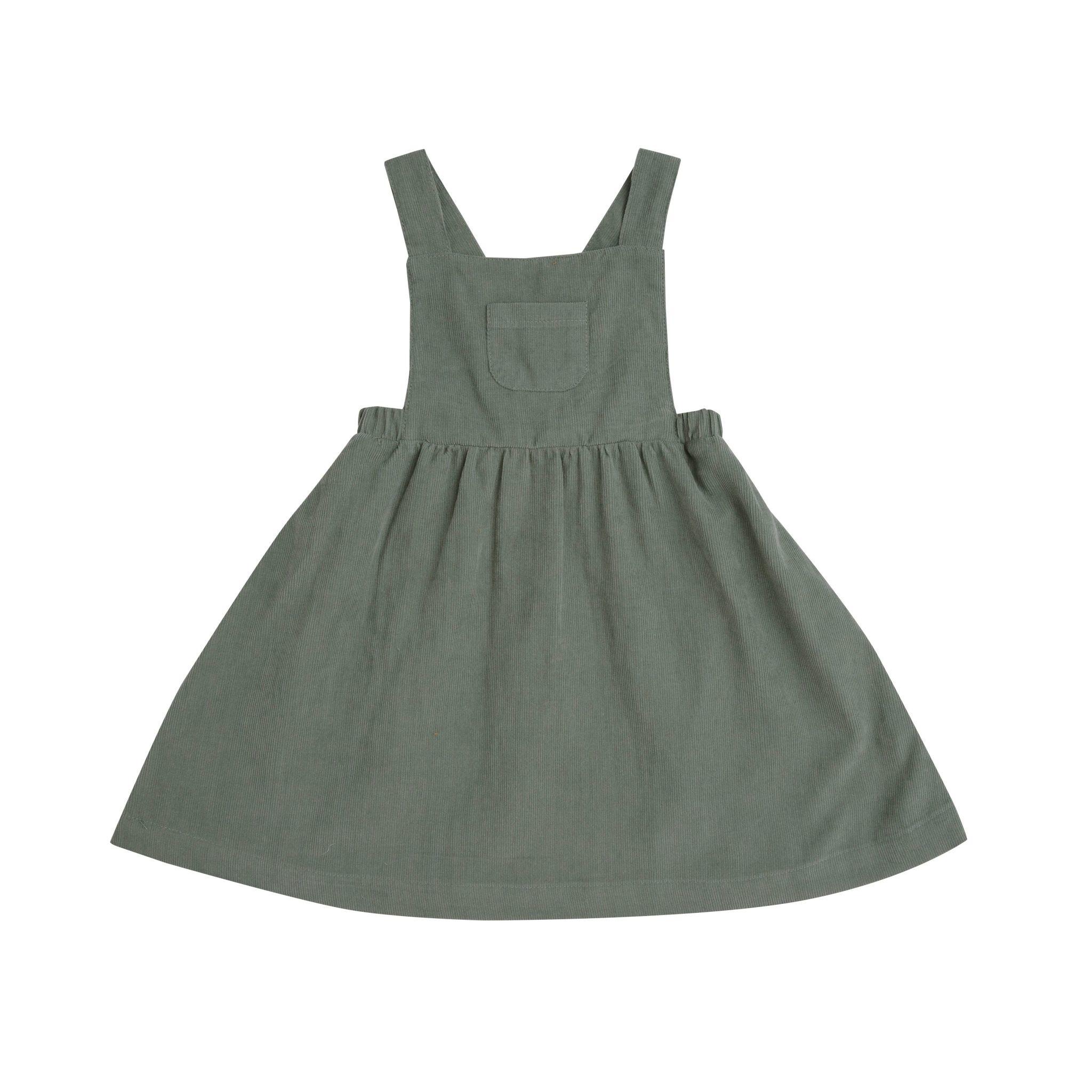 Angel Dear Angel Dear Hedge Green Corduroy Overall Dress
