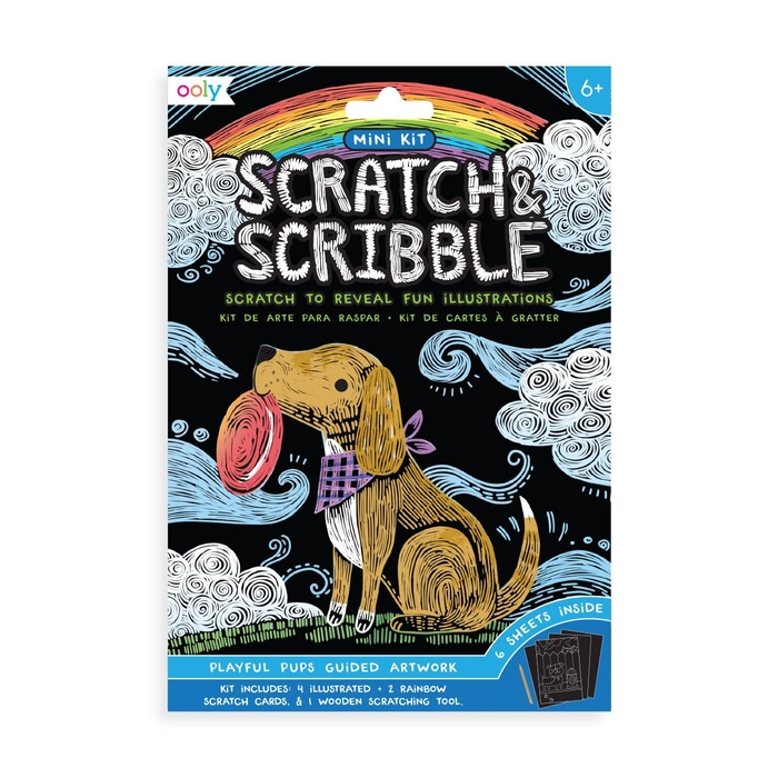 ooly Ooly Mini Scratch & Scribble Art Kit: Playful Pups