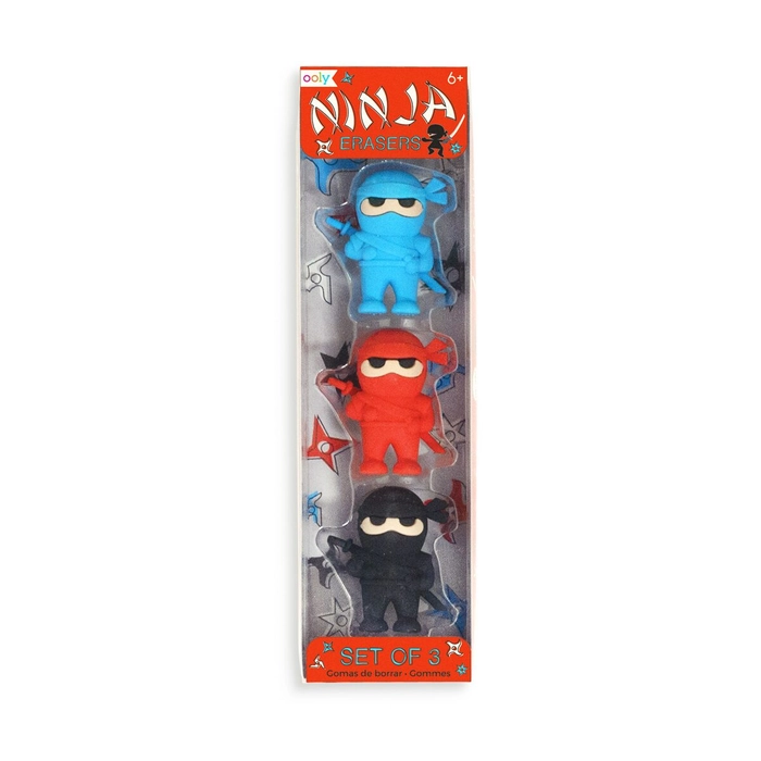 ooly Ooly Ninja Erasers - Set of 3