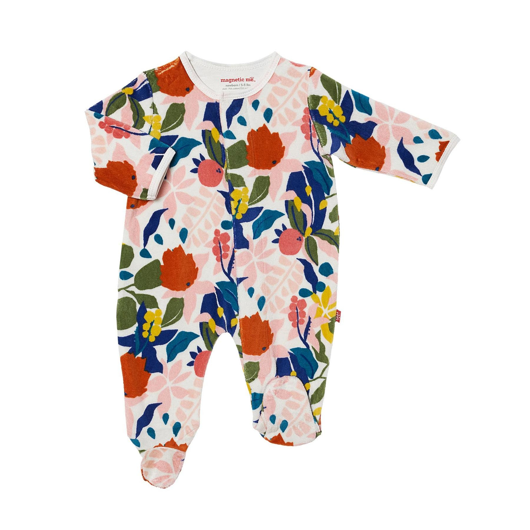 Magnificent Baby Magnetic Me Rayleigh Velour Magnetic Footie