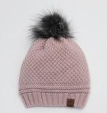 Cali Kids Knit Faux Fur Pom Pom Hat