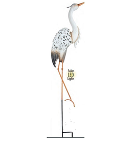Action Imports ACT9231 white metal heron stake with light
