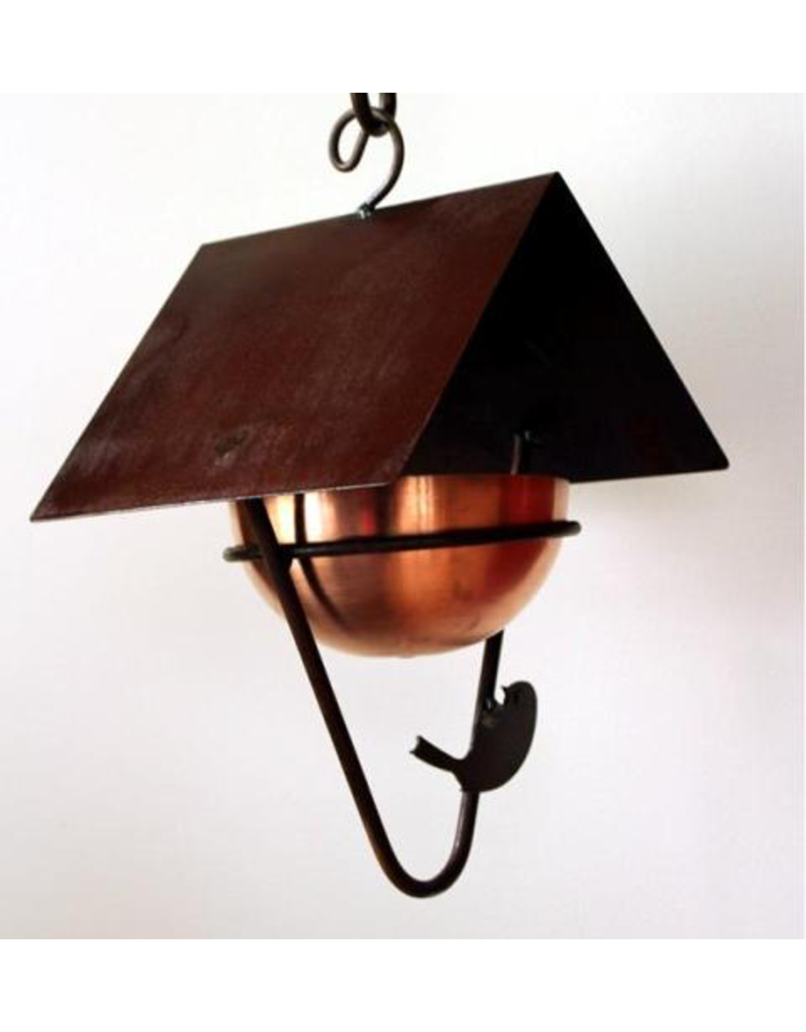 Martin House G.A. MH005 Covered bird feeder with brass bowl. Hand Made in Canada.