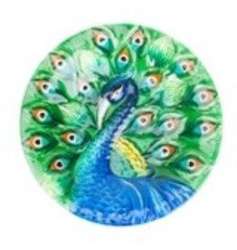 "Woodlink WK82905 16"" Glass Peacock Birdbath with Stand"