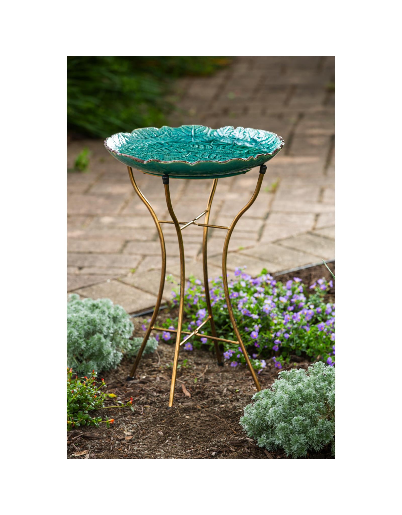 Evergreen EE81188 Ceramic Bird Bath w/stand Botanicals