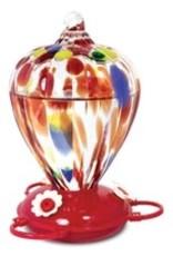 Pinebush PB88183 Art Glass Hummingbird Feeder Balloon Design