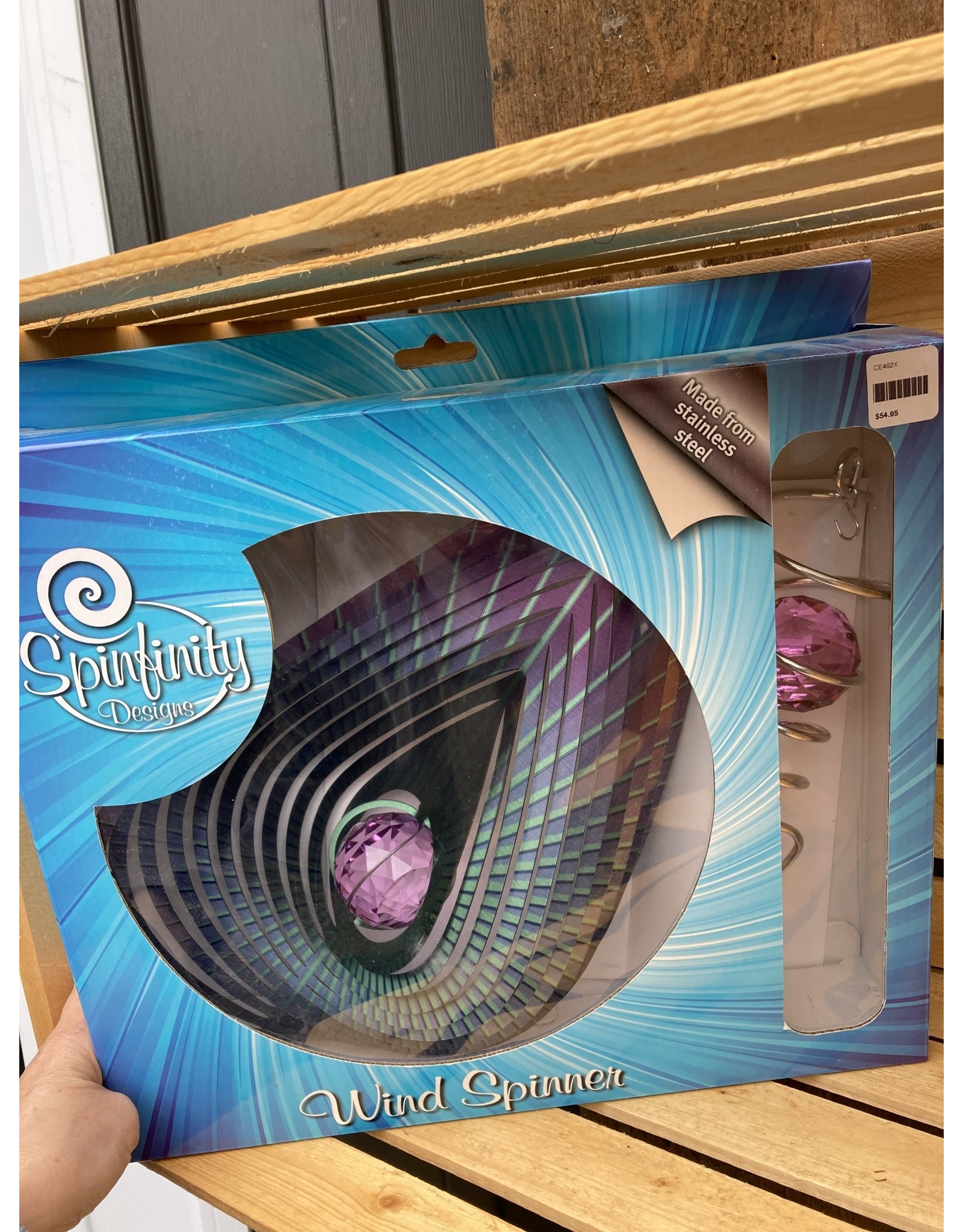"""Spinfinity Designs CE462X  12"""" WIND SPINNER BOXED SET PURPLE TEARDROP W/CRYSTAL TAIL"""