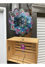 """Spinfinity Designs CE175X 12"""" WIND SPINNER BOXED SET LOTUS MANDALA W/CRYSTAL TAIL"""