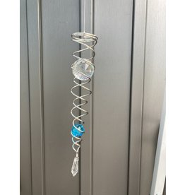 """Spinfinity Designs CE812LL CRYSTAL TWISTER LARGE 13"""" SILVER/AQUA"""