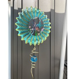 """Spinfinity Designs CE220X 12"""" WIND SPINNER 3D BLUE BUTTERFLY WITH CRYSTAL TAIL"""