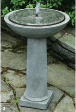 Campania CIFT248 Cast Stone Hydrangea Leaves Birdbath Fountain in Natural