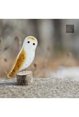 The Glass Bakery GBOWL Baked Glass Owl on Log