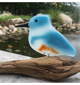 The Glass Bakery GBKING  Baked Glass Belted Kingfisher On Driftwood
