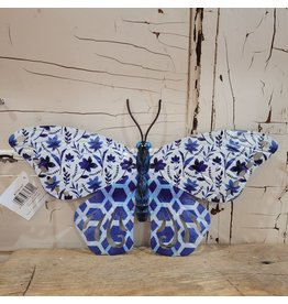 GiftCraft GC716147b Butterfly Blue Wall decor metal