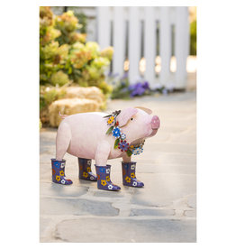 EE3293 Handcrafted Metal Pig with Flowered Purple Rain Boots