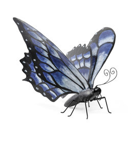 EE3294 Handpainted Blue Metal Monarch Butterfly Outdoor