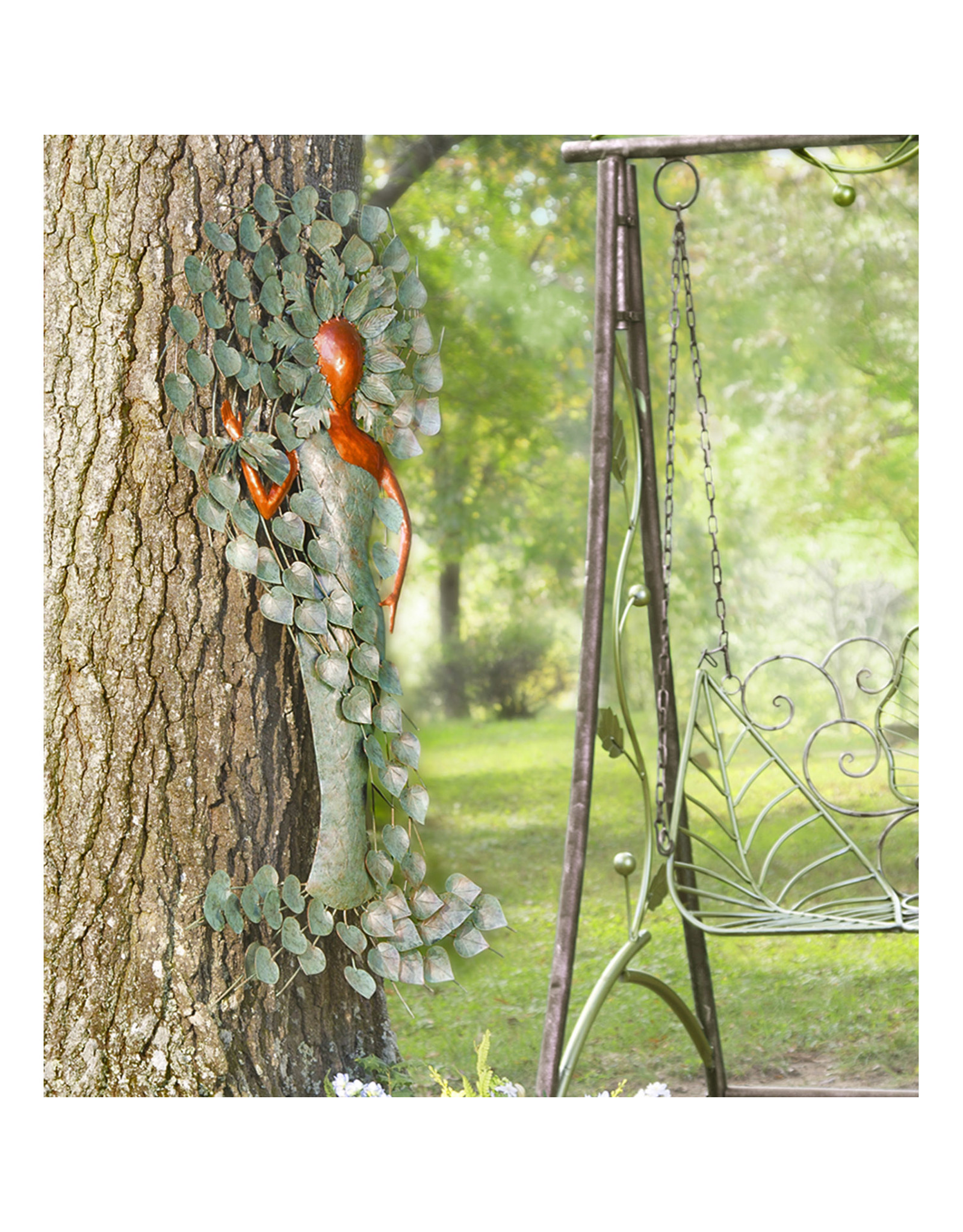 EE3308 Copper and Patina-Colored Metal Green Woman Wall Artr