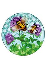 "Evergreen EE2GB567 18"" Glass Birdbath , Busy Bee Days"