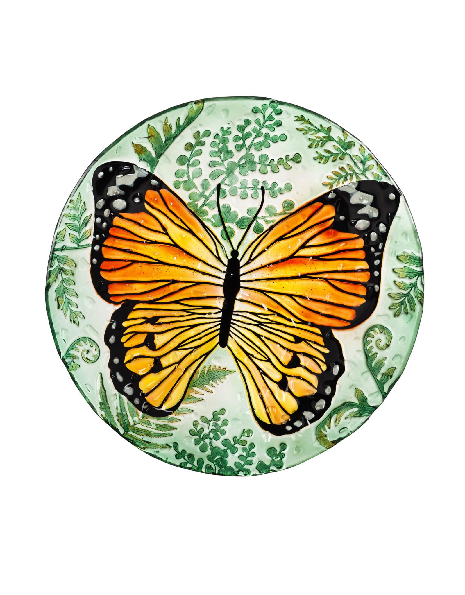"Evergreen EE2GB6891 18"" HandPainted Birdbath with Crushed Glass, Monarch"