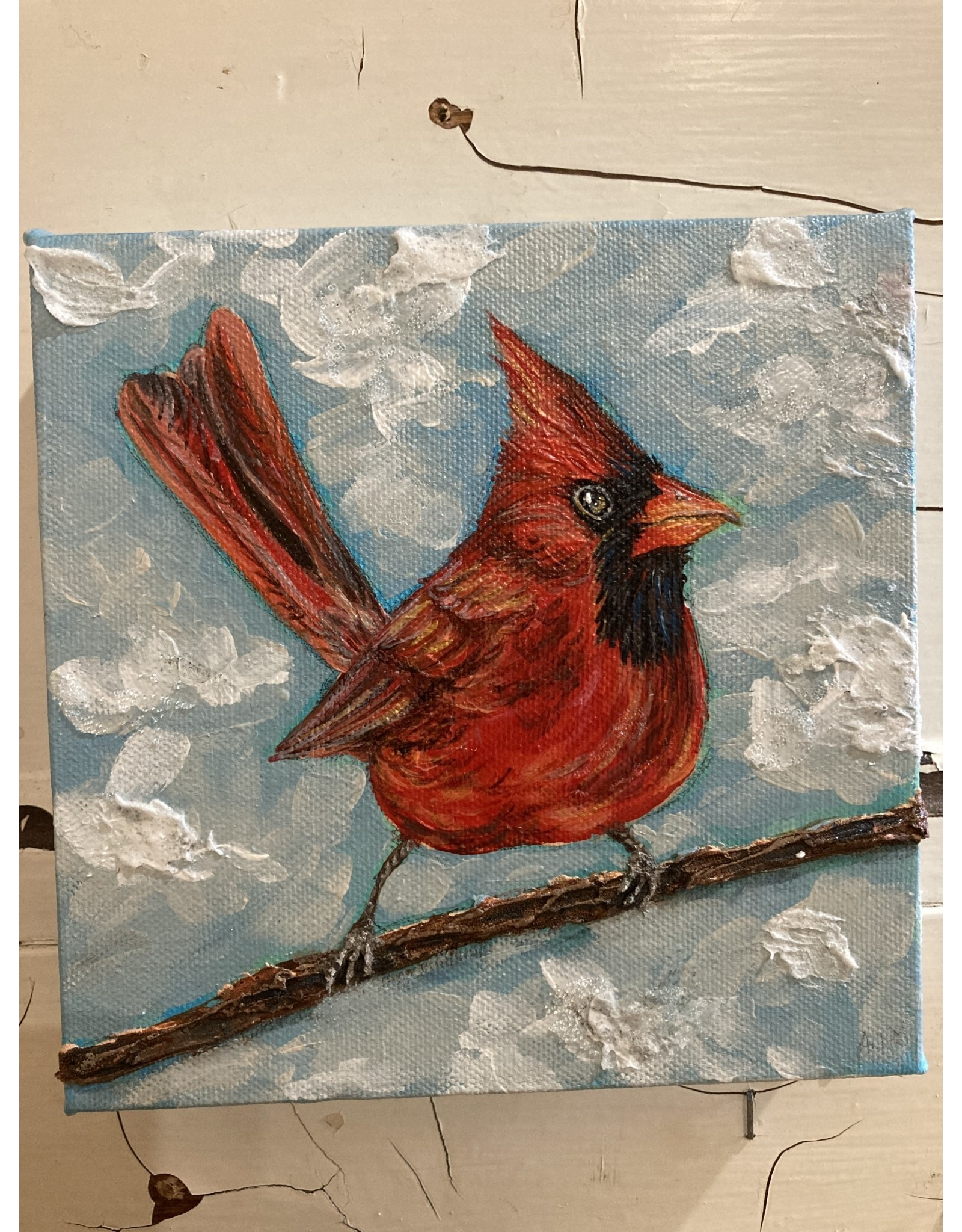 Artist - Alicia Galambos AGCLIVE Clive the Cardinal 6x6 on canvas