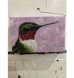 Artist - Alicia Galambos AGHAROLD Harold the hummingbird 4x6 on canvas