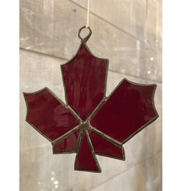 Artist- Andrew Reid ARMAPLELFR2 Stain Glass Maple Leaf -Dark Red