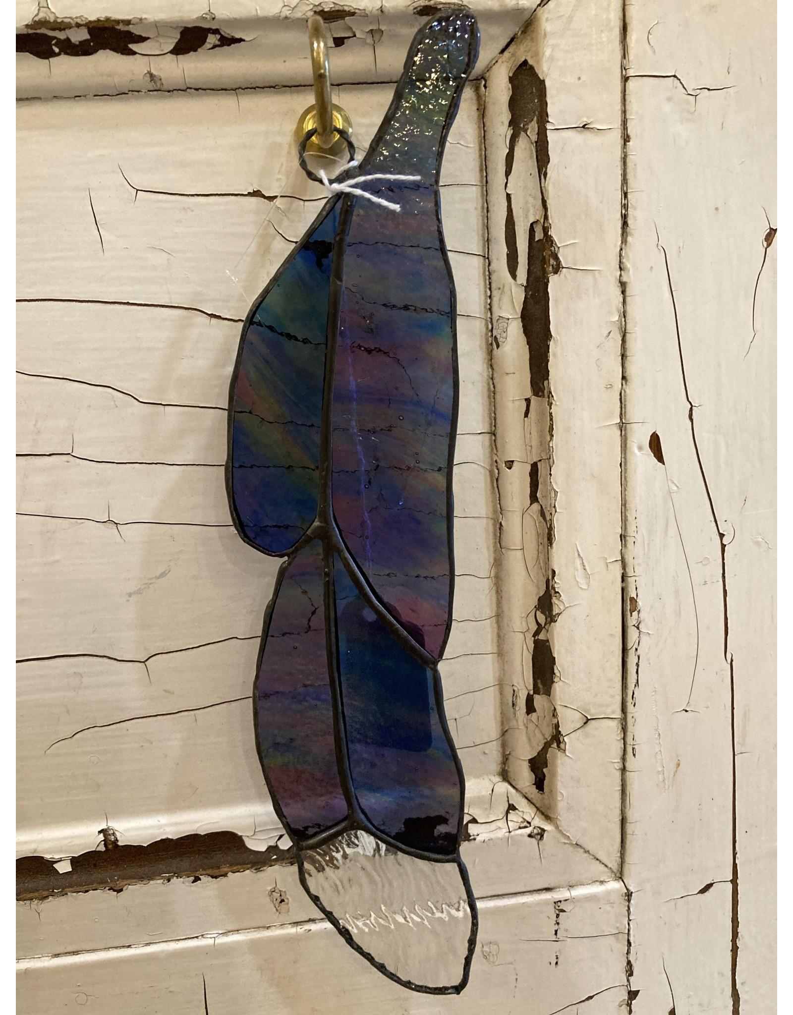 "Artist- Andrew Reid ARFEATHER5B Stain Glass Feather-Blue/Purple, 9.5"" x 2.125"""