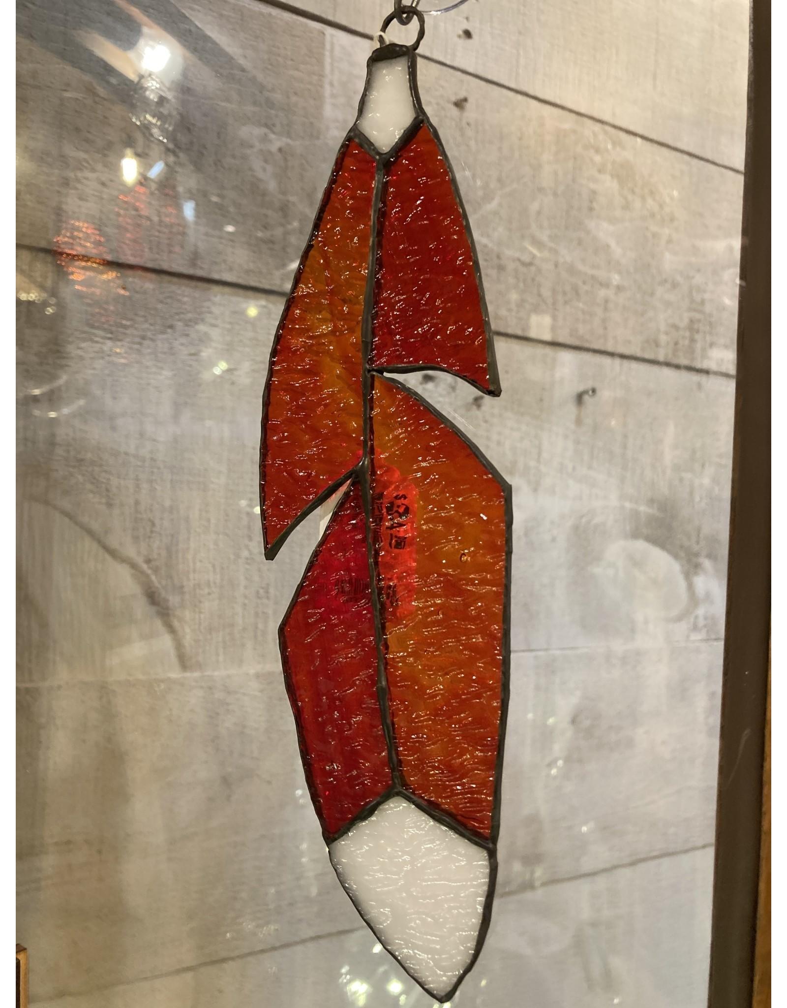 "Artist- Andrew Reid ARFEATHER6B Stain glass Feather-Burnt Orange with white tip-9.5"" 2.125"""
