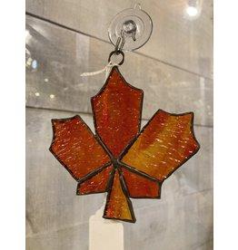 "Artist- Andrew Reid ARMAPLELFO Stain glass Maple Leaf-Burnt Orange 4.25""x 4"""