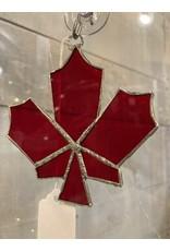 "Artist- Andrew Reid ARMAPLELFR1 Stain Glass Maple Leaf-Red, 4.25""x4"""