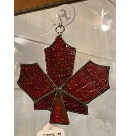 "Artist- Andrew Reid ARMAPLELFB Stain Glass Maple Leaf-Brown, 4.25""x4"""