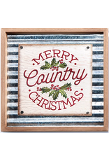 GiftCraft GC3214c Metal xmas Wall Plaque -Merry Country