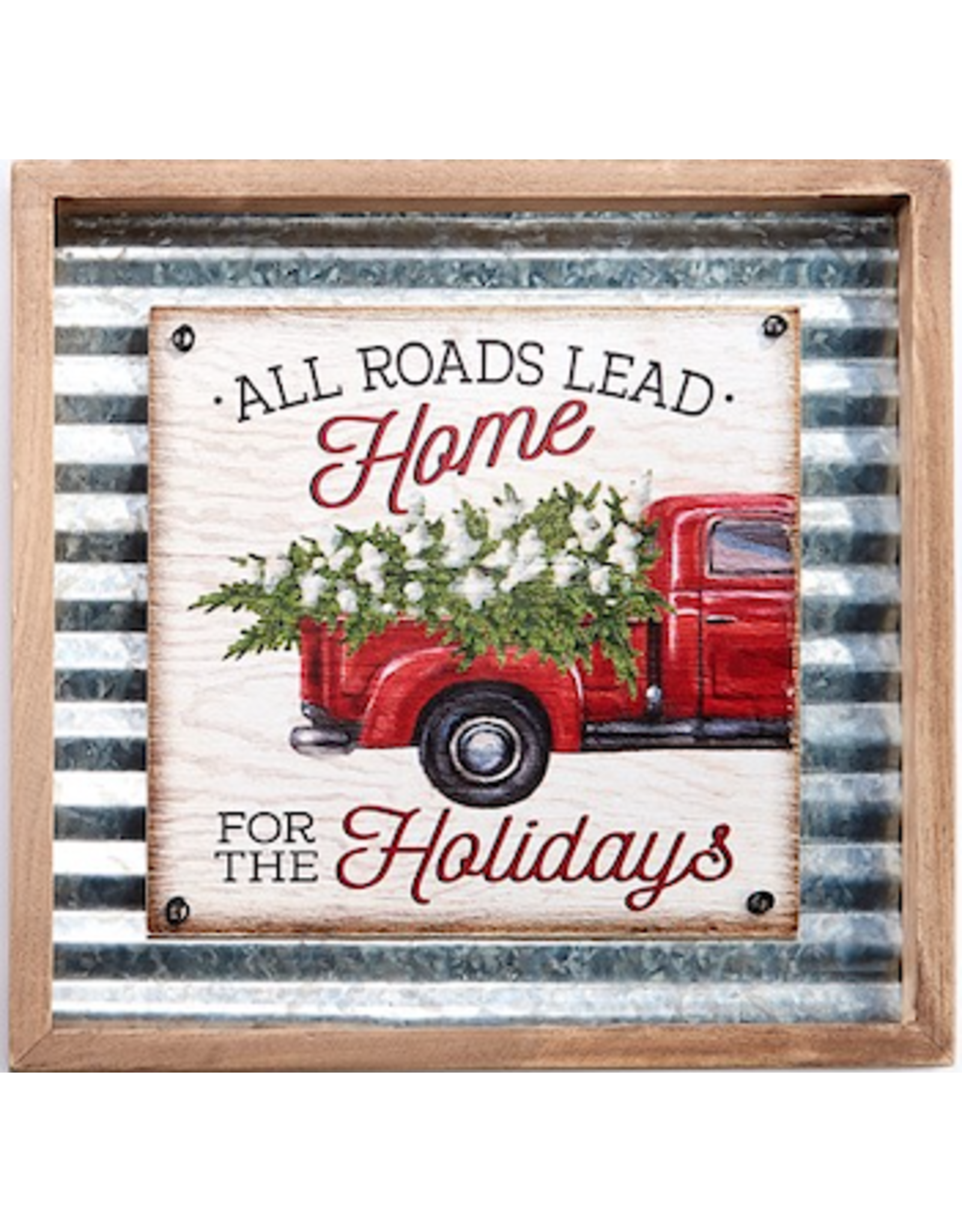 GiftCraft GC3214d Metal xmas Wall Plaque -All Roads Lead