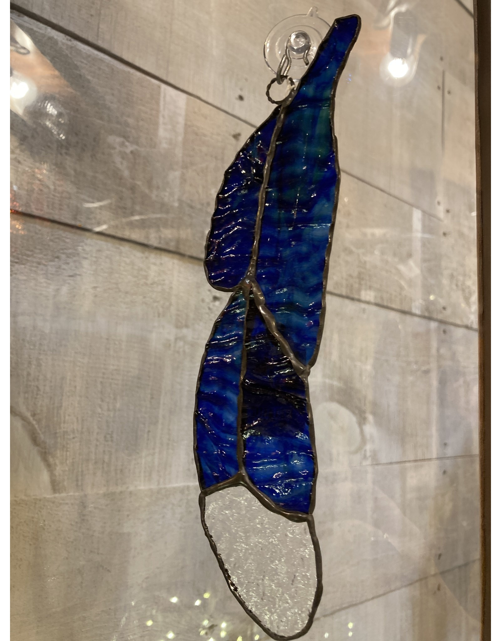 """Artist- Andrew Reid ARFEATHER5C Stain Glass Feather-Blue with clear tip, 9.5"""" x 2.125"""""""