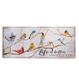 GiftCraft GC4358 MDF Wall Bird Plaque Life is Better w/Friends