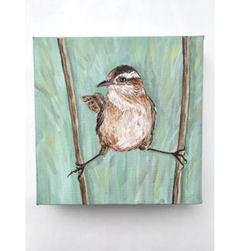 """Artist - Alicia Galambos AGMARTY Marty the Marsh Wren, 6 x 6 """" on Canvas"""