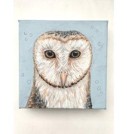 "Artist - Alicia Galambos AGOPHELIA, Ophelia the Barn Owl on Canvas, 6""x6"""