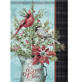 Carson EL50133 - Garden Flag -Chickadee and Cardinal - Glitter
