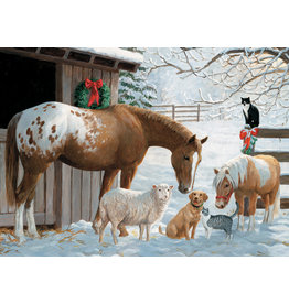 Cobble Hill Puzzles OM54604 Winter Barnyard Cobble Hill Puzzle 350pc Family Pieces