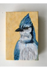 Artist - Alicia Galambos AGBEATRICE Beatrice the Blue Jay 4x6 on canvas