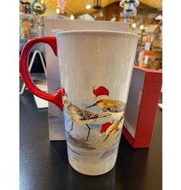 Evergreen Holiday Sandpipers Ceramic Travel Mug, 17oz