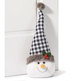 GiftCraft GC7349 Snowman Head Door Stopper, Black Flannel Check
