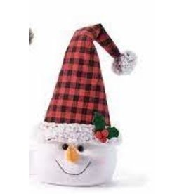 GiftCraft GC7349 Snowman Head Door Stopper, Red Flannel Check