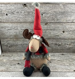 "Tri W TW1717 13"" Red and Black Plaid Sitting Reindeer"