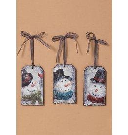 """Tri W TW4390  6"""" Wood Snowman Ornament- 3 Asst"""