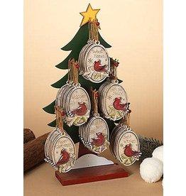 "Tri W TW8080 4.6"" Wood Holiday Cardinal Ornament -  Asst."