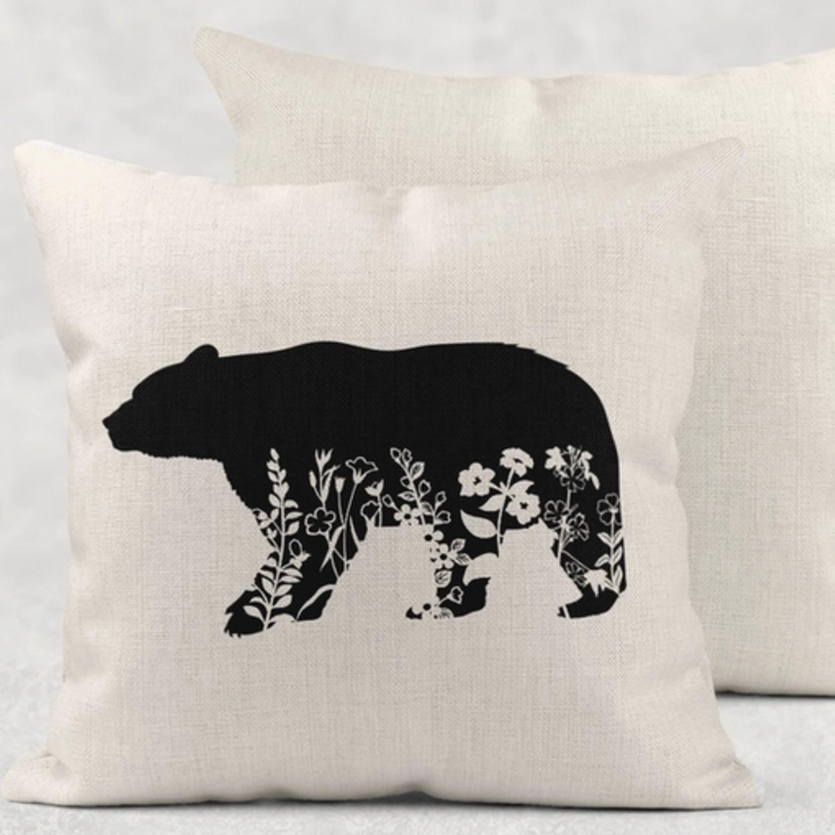 Indigo Faire Floral Bear Pillow