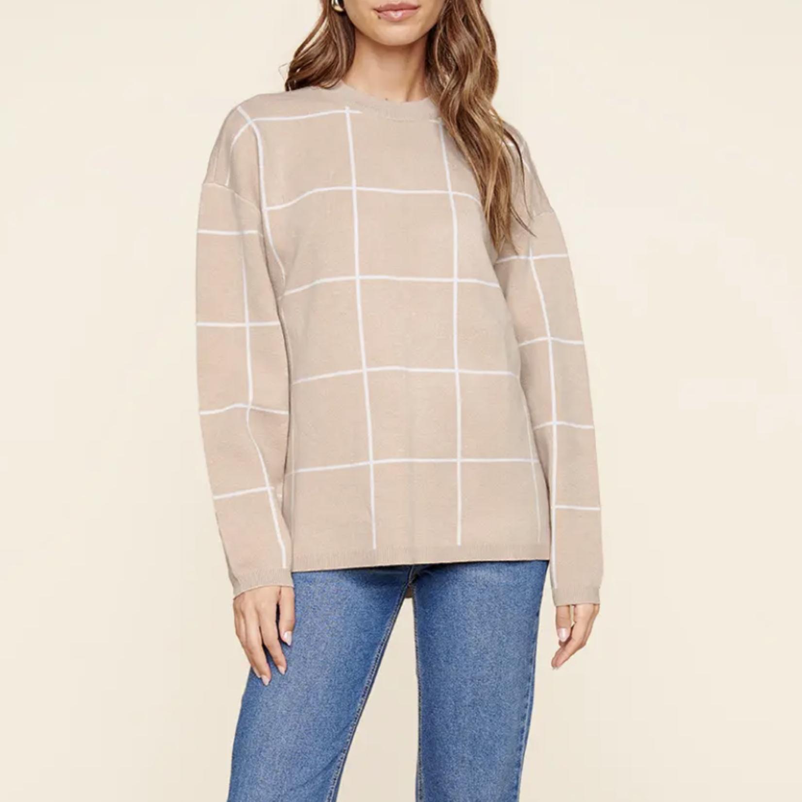 Indigo Faire Dansby Window Pane Sweater