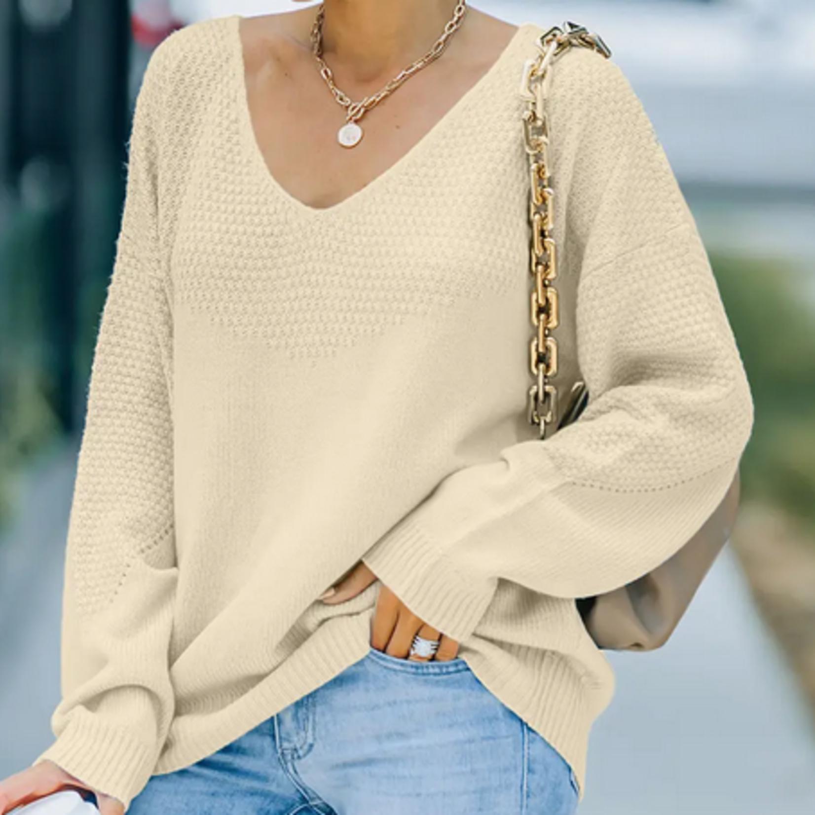 Indigo Faire Textured Knit V-neck Sweater