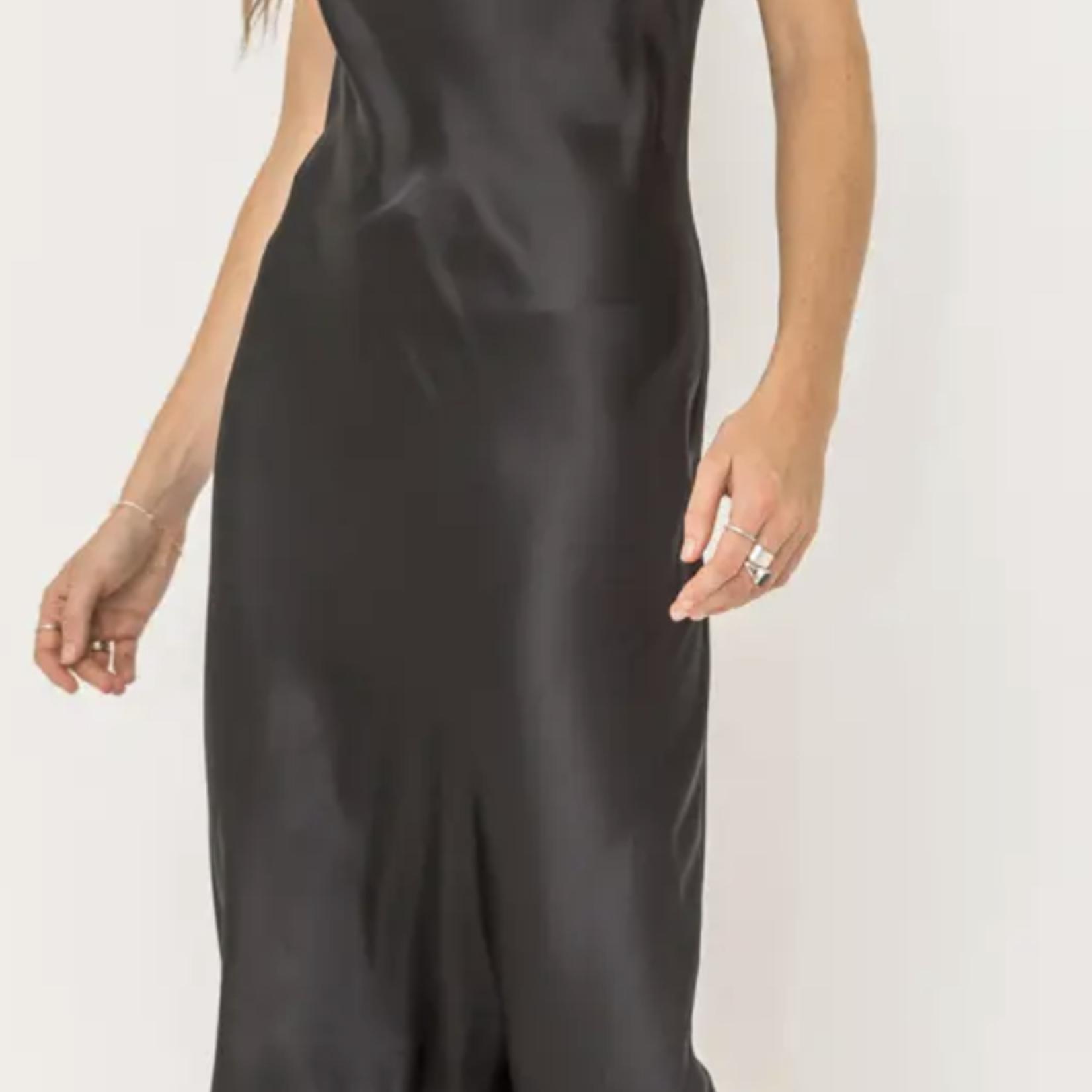 Indigo Faire Cowl Satin Dress